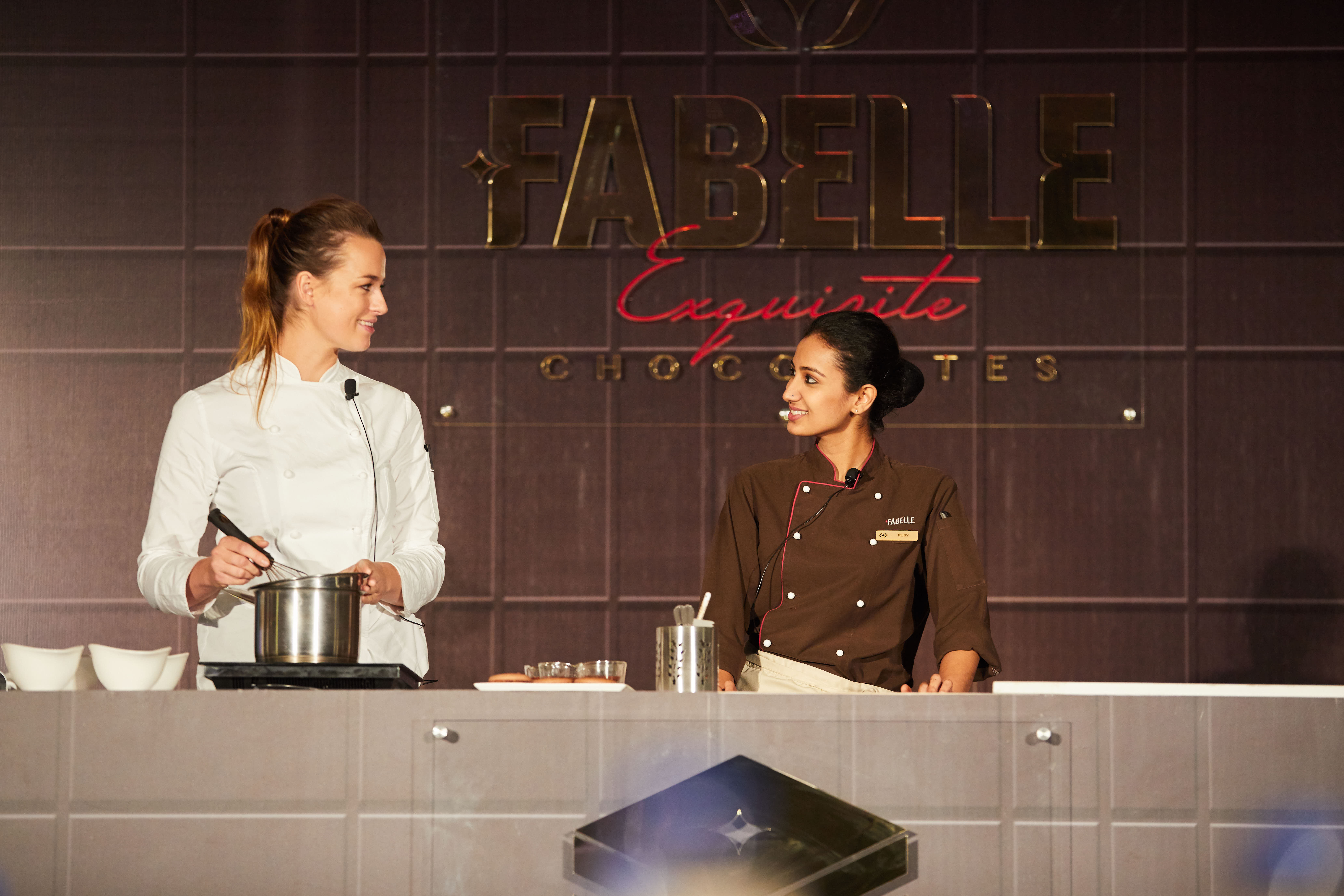 Billie McKay & Fabelle Master Chocolatier Ruby Islam @ Launch of Fabelle Societe de Chocolat Masterclass Series at ITC Gardenia, Bangalore